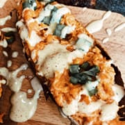 Twice Baked Buffalo Chicken Sweet Potatoes with SPF 53 and One Legged Chicken