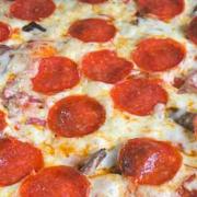The BBQ Buddha's Mushroom, Pepperoni and Sliced Red Onion Pizza