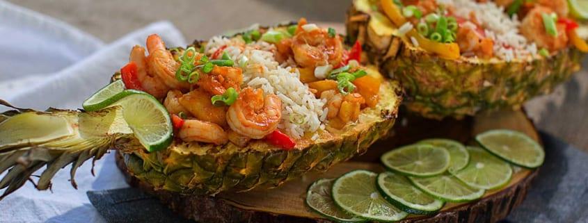 Pineapple Boat Shrimp Stir Fry