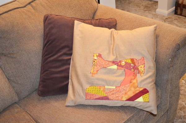 pillow case made from crazy quilted applique