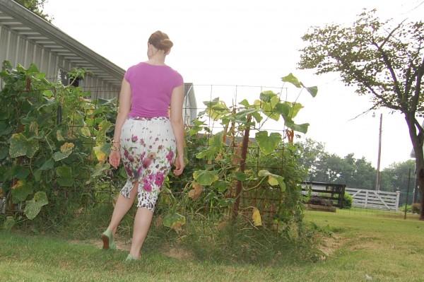 linen floral pencil skirt
