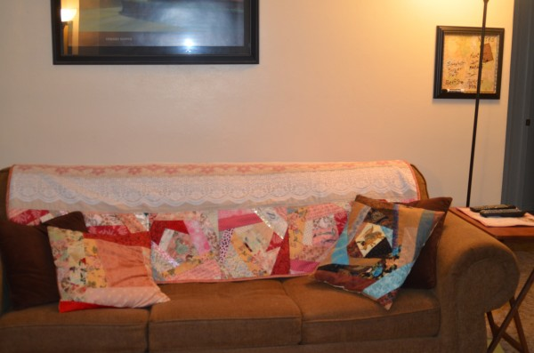 valentine quilt on couch