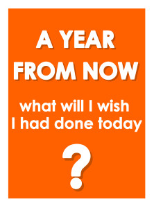 """A Year from Now"" gallery print in orange"