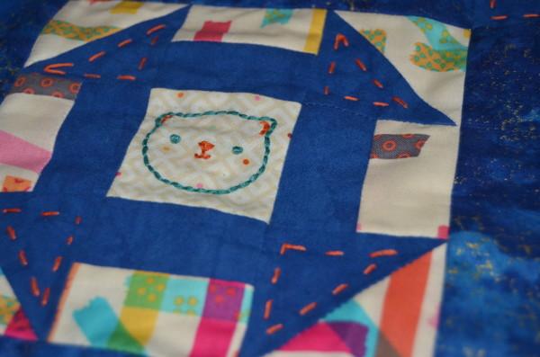 churn dash mini embroidery detail