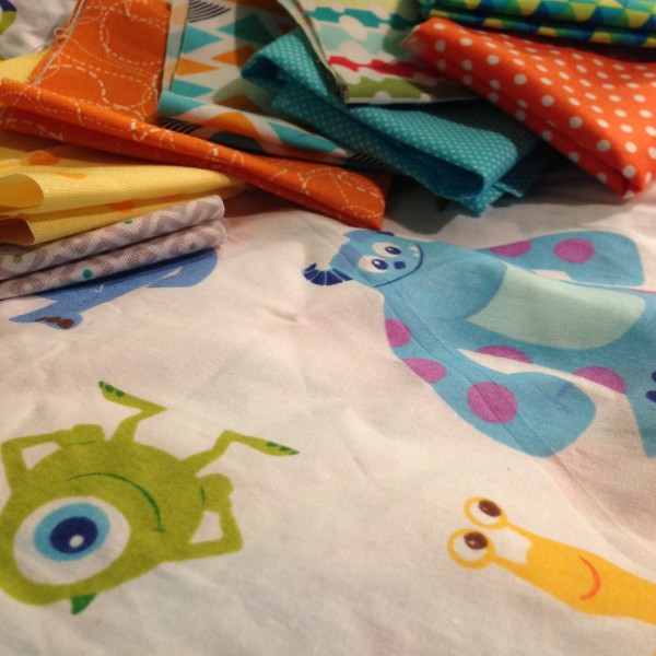 fabric for monster's inc quilt with crib sheet