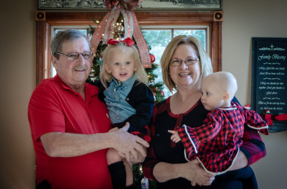 Grandma and Grandpa Hyneman with Mil and cousin Charli.
