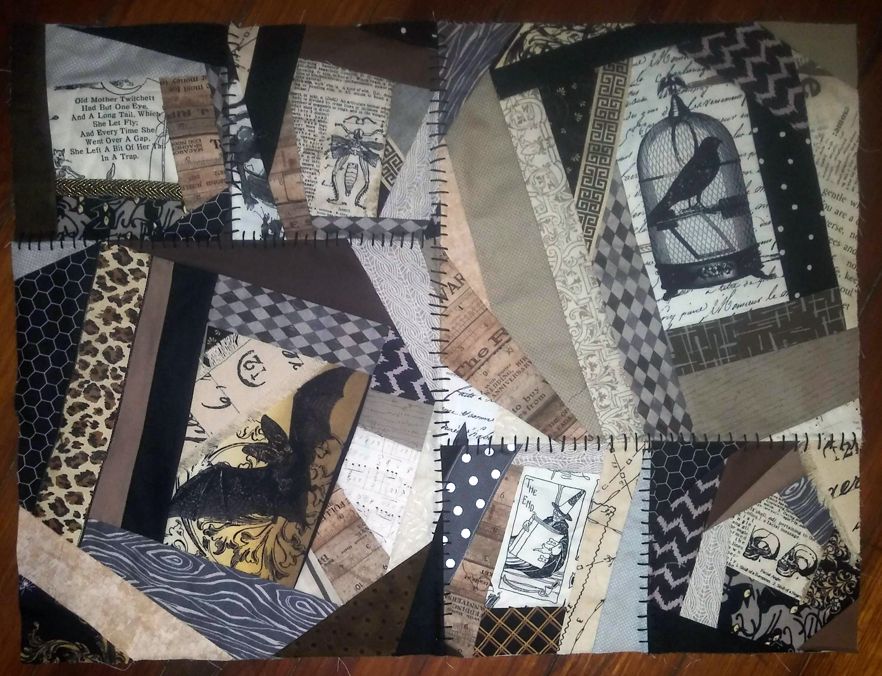 spooky crazy quilt section