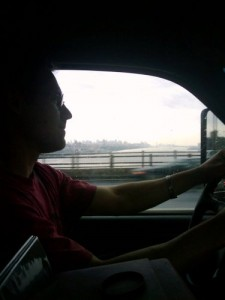 Rob driving out of Manhattan