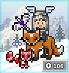 8-bit graphic of avatar riding a fox in a snowy field