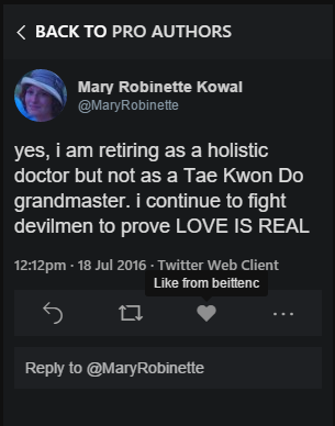 """Tweet reading, """"yes, i am retiring as a holistic doctor but not as a Tae Kwon Do grandmaster. i continue to fight devilmen to prove LOVE IS REAL."""""""