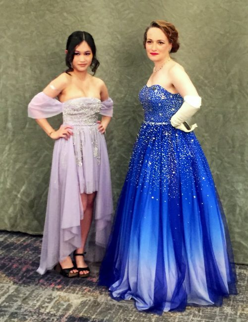 Rebecca Kuang  in a lilac gown and Mary Robinette Kowal in a blue ombre gown