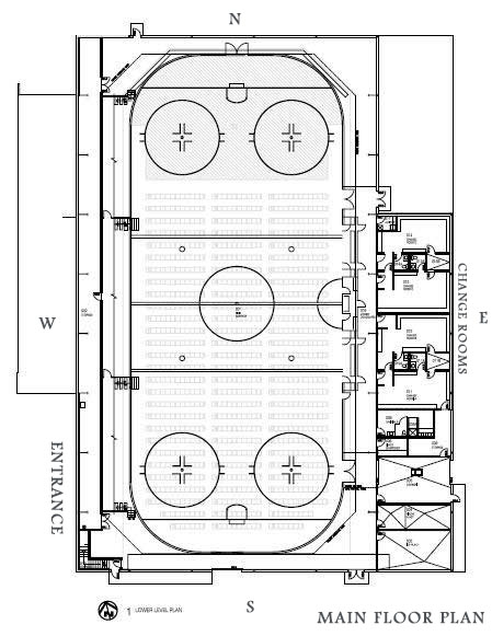 Main floor plan of the arena. Change rooms to the rear.