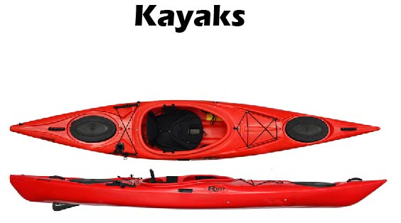 and 5 Kayaks for rent  For either the prices are as listed: $25 a day and $15.00 each additional day. Includes the personal flotation devices and paddles.