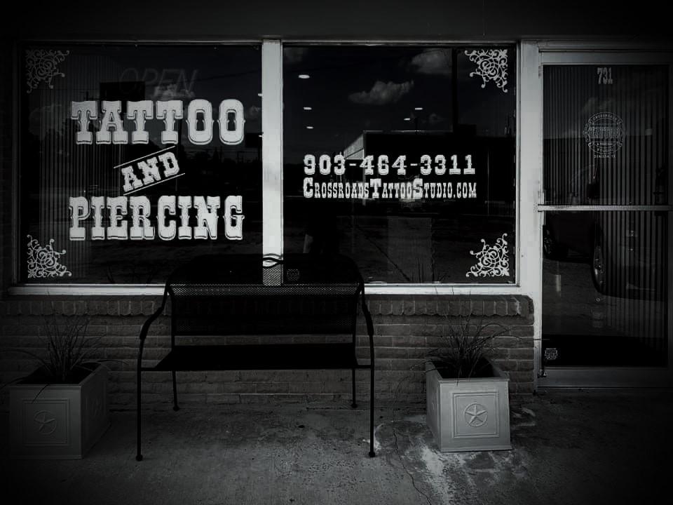 Exterior of Crossroads Tattoo Studio in Denison, TX