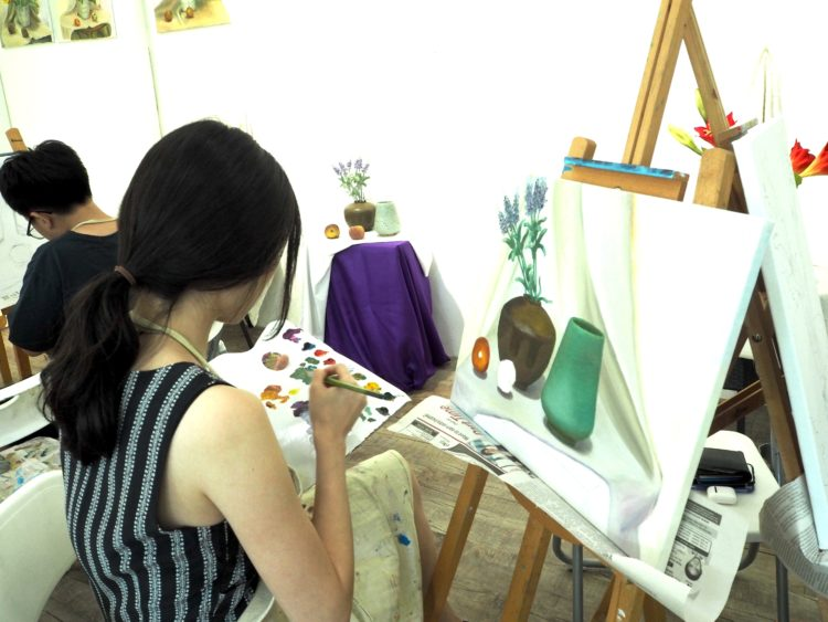 learn still life oil painting classes singapore visual arts centre