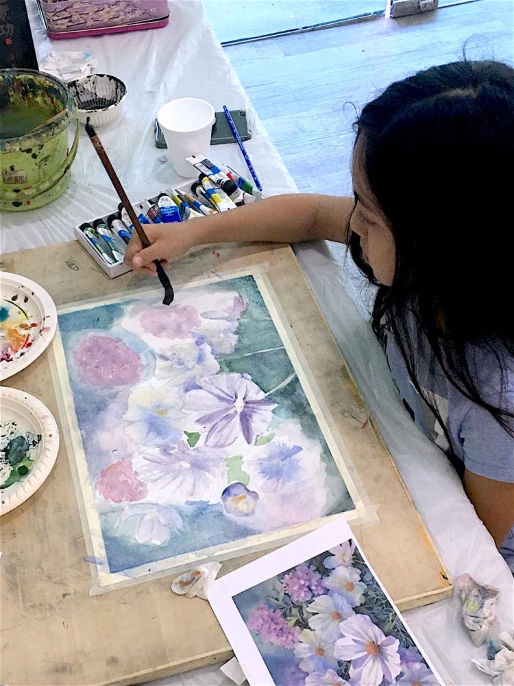 Kids watercolour painting course in Singapore, Creative Kids Art Immersion Course at Visual Arts Centre