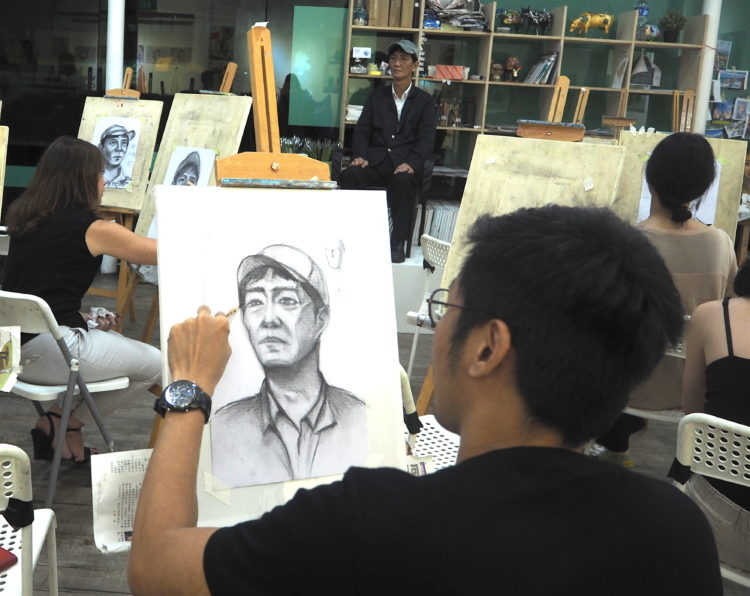 group party activities in portrait drawing