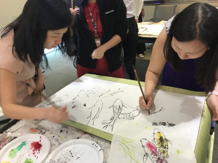 Chinese brush painting class Singapore, learn to paint Koi Fishes