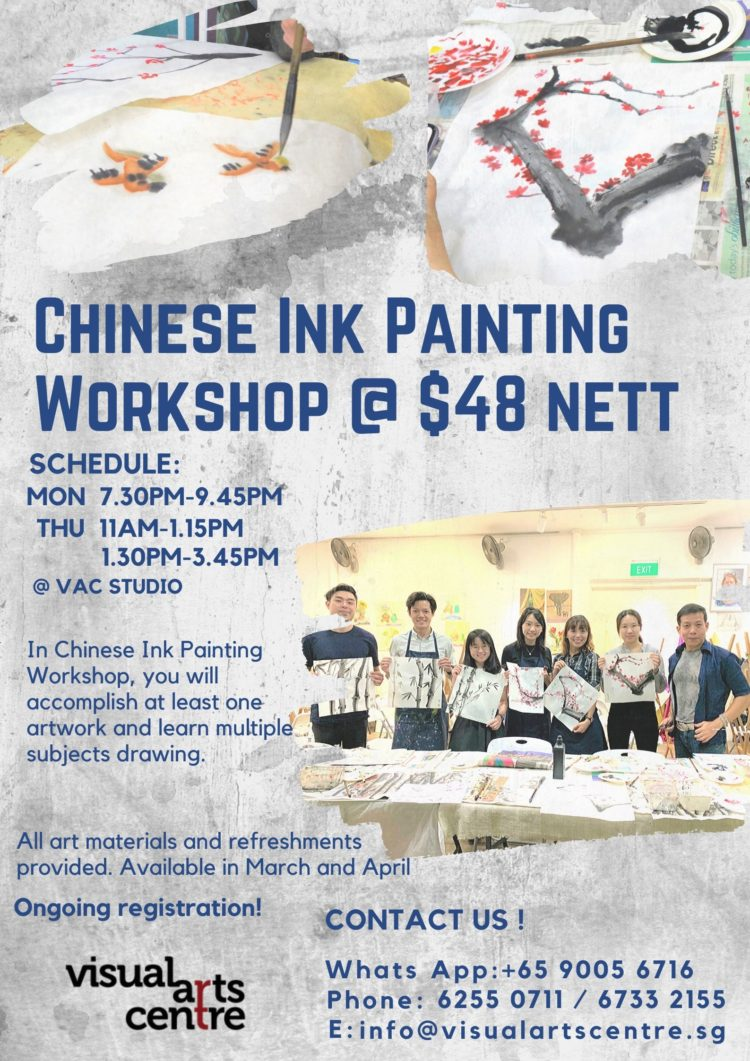 Chinese ink painting class singapore at visual arts centre, learn Chinese brush painting