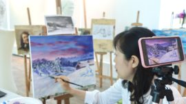 Learn acrylic painting online visual arts centre zoom live art sessions