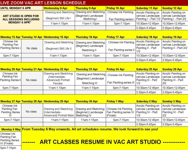 Online Art Classes During Covid-29 Circuit Breaker and Full Schedules By Visual Arts Centre