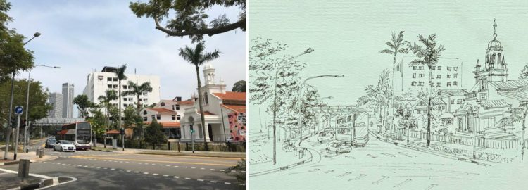 Learn Landscape sketching art class online, learn urban sketching at Visual Arts Centre Singapore