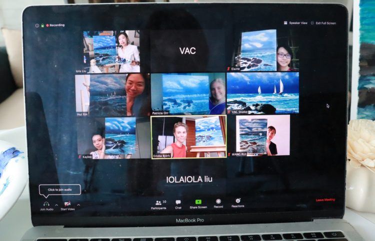 Zoom live meeting session Art virtual team building experience during covid19 coronavirus singapore teambuilding teambonding activities arts painting acrylic water color chinese ink painting easy custom