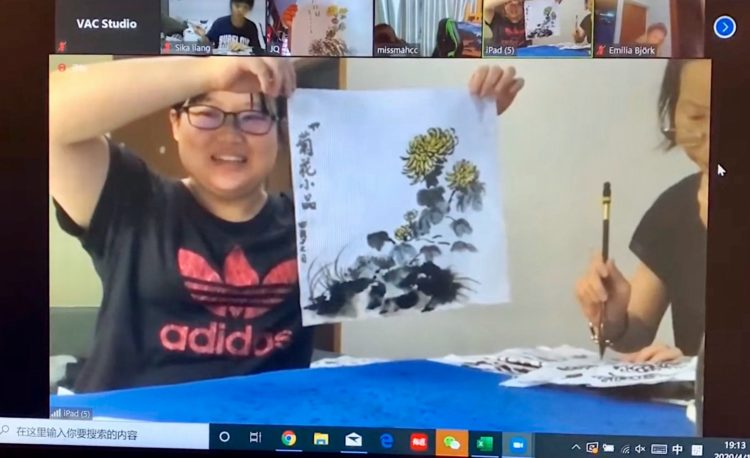 Sunflower chinese ink painting singapore