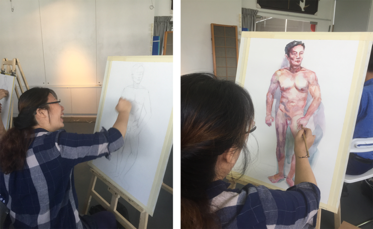 watercolour nude life drawing singapore