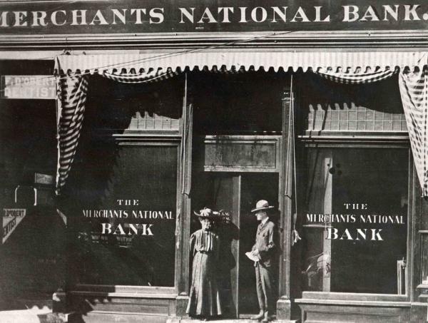 Merchants National Bank of Topeka circa 1896-1911, via Kansas Historical Society