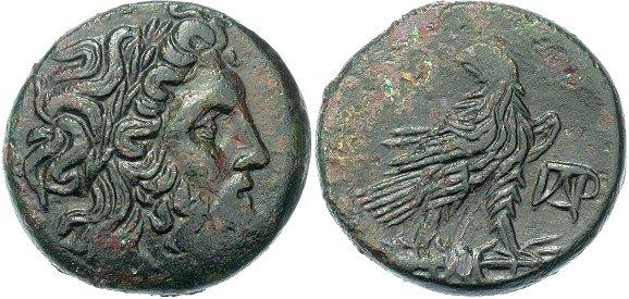 Zeus on a Bronze Macedonian Bronze of Paroreia, circa 185 - 168 B.C.