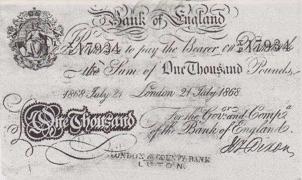 The £1,000 banknote that Countess Morcar paid Peterson for his reward. - WTB Blue Evidence Box