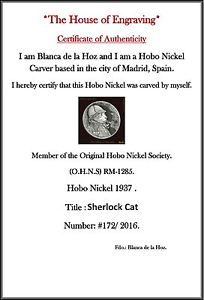 Sherlock Cat 1937 Hobo Nickel c