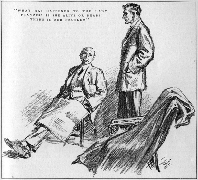 """""""What has happened to the Lady Frances? Is she alive or dead? There is our problem"""" ~ Illustration by Frederic Dorr Steele - American Magazine December 1911"""