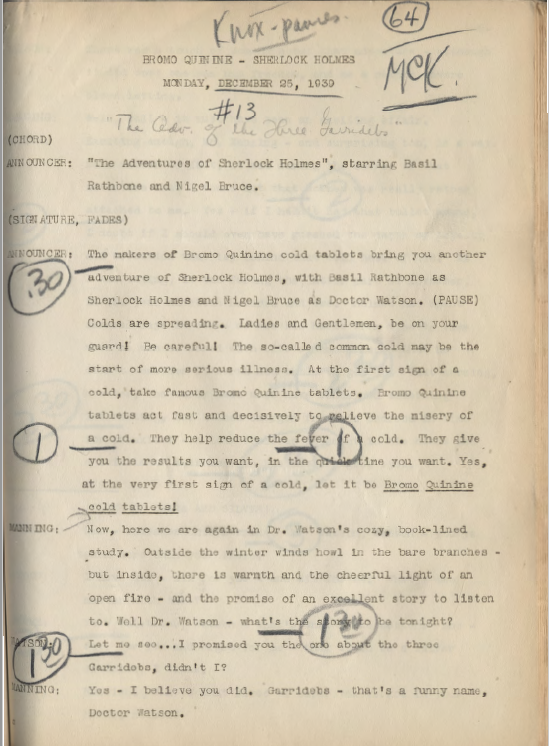 The Fourth Garrideb broadcast of the 12/25/1939 3GAR Radio Script