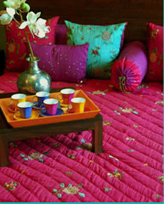 Bed linen and pottery in vibrant colors from Good Earth, New Delhi