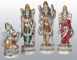 the collection of Indian deities gods crafted in sterling silver by the artisans across the world