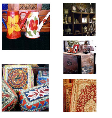 Decorative enamel hand painted watering cans,  antique cupboard, decorative chest, carpets and decorative boxes