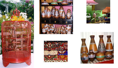 A birdcage made from bamboo, Hand painted Cocowood, lamps and carpets
