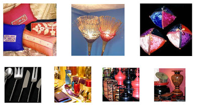 Silk Cushions, festival lights, Velvet Doorstops, Quirky cutlery, whimsical collectibles and lacquer ware