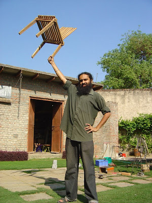 a light weight bamboo chair created by Mann Singh
