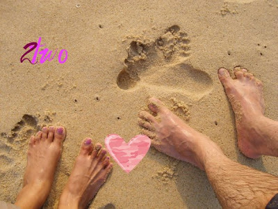 Two pairs of feet to walk together on life's path