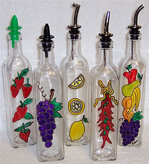DIY recycled decor - handpainted bottles