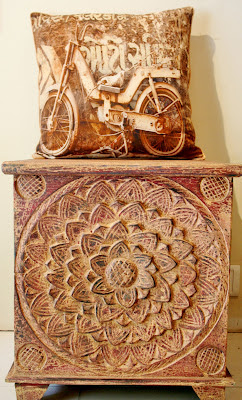 The Keybunch, bicycle cushion on carved box by serenity