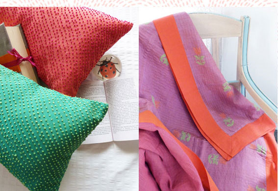 a collection of cushion and bed-linen