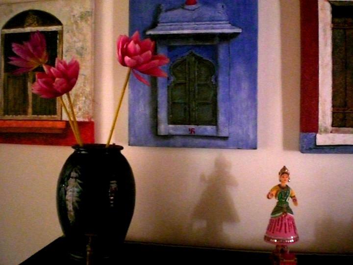 Seema and Rakesh door paintings home Bangalore home tour