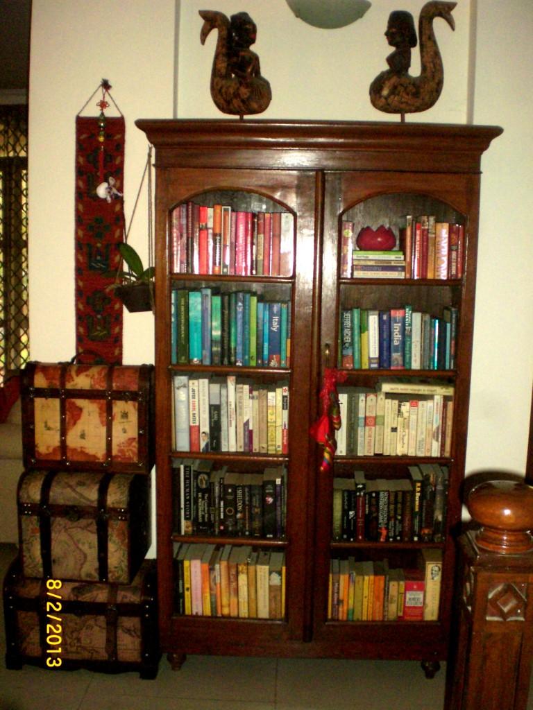 Seema and Rakesh bookcaseantique 1910 home Bangalore home tour