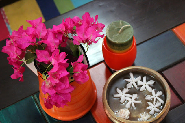 urlis, colorful vases and candles