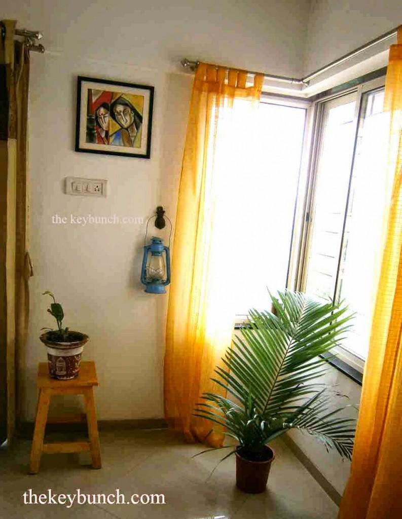yellow stool diy styling living corner window