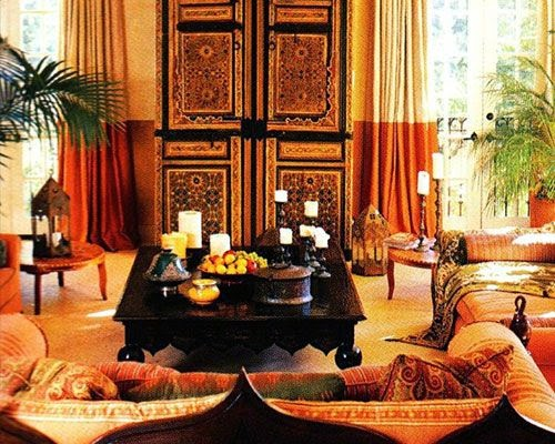 A room in orange color with wild berries
